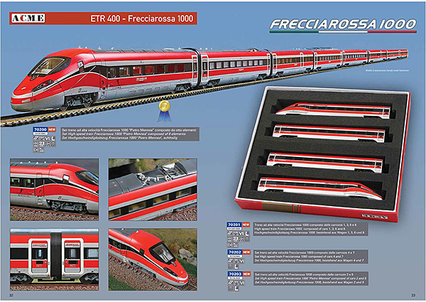 ACME AC70200 - ACME 8-piece. Train set ETR 400 - Frecciarossa 1000 of the Trenitalia / FS (DC Analog)