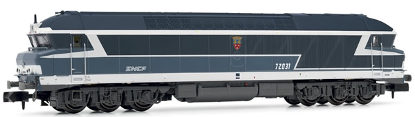"""Arnold HN2384S - French Diesel Locomotive CC72031, blue with """"noodle"""" logo of the SNCF (Sound)"""