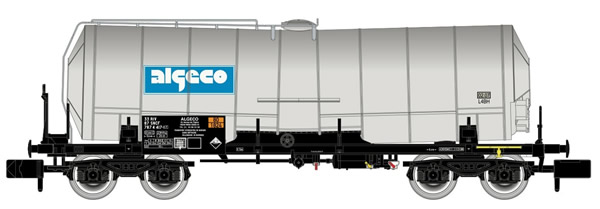"""Arnold HN6394 - 4-axle Isolated Tank Wagon, silver livery with light weathering, """"algeco"""""""