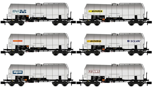 Arnold HN6397 - 6pc 4-axle Isolated Tank Wagon Set, different liveries