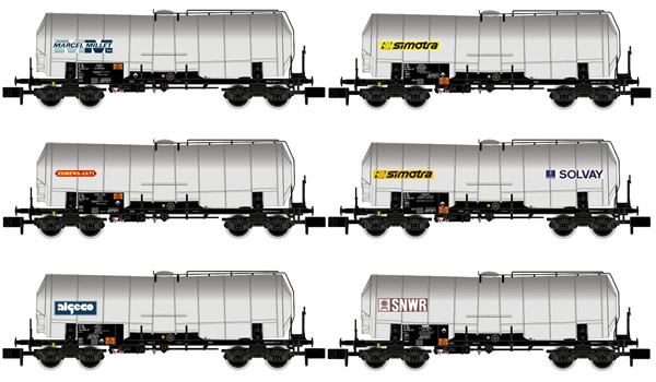 Arnold HN6398 - 6pc 4-axle Isolated Tank Wagons, different liveries