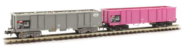 Arnold HN6426 - 2-unit pack 4-axle open wagons type Eaos, one in pink livery and one in grey livery, loaded with scrap