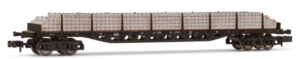 Arnold HN6463 - 4-axle flat wagon Sgjs716, DB, black livery, loaded with concrete sleepers