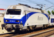 RENFE, 252 electric locomotive Arco, white, blue and grey livery, ep. V