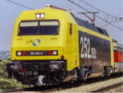 RENFE, 252 electric locomotive in yellow and black livery, ep. V