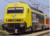 RENFE, 252 electric locomotive in yellow and black livery, ep. V DCC