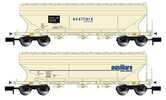 2pc 2-axle Silo Wagon Set ausiliare MILANO, flat side walls