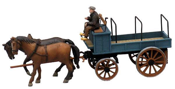 Artitec 387.63 - Open Farmers Wagon w. 2 Horses and 1 Driver