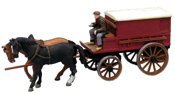 Artitec 387.64 - Covered Farmers Wagon w. 2 Horses and 1 Driver
