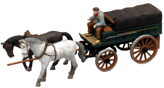 Artitec 387.65 - Farmers Wagon covered w. Tarp, 2 Horses and 1 Driver