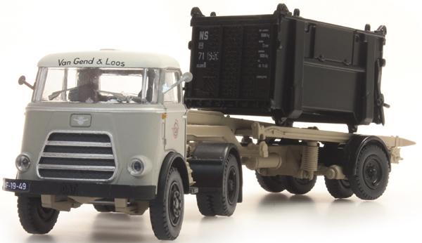 Artitec 487.011.02 - DAF open container trailer, black, cab 59, Van Gend en Loos