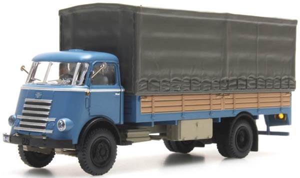 Artitec 487.040.02 - DAF Flatbed Truck mit Plane blau, Kab. '55