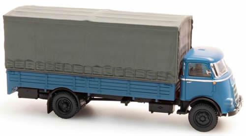 Artitec 487.041.01 - DAF long chassis, open body, canvas cover, cab 59, blue