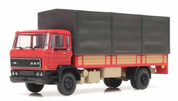 Artitec 487.052.02 - DAF tilt-cab C open bed truck with canvas white