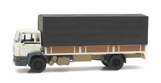 Artitec 487.053.02 - DAF tilt-cab C open bed truck with canvas white