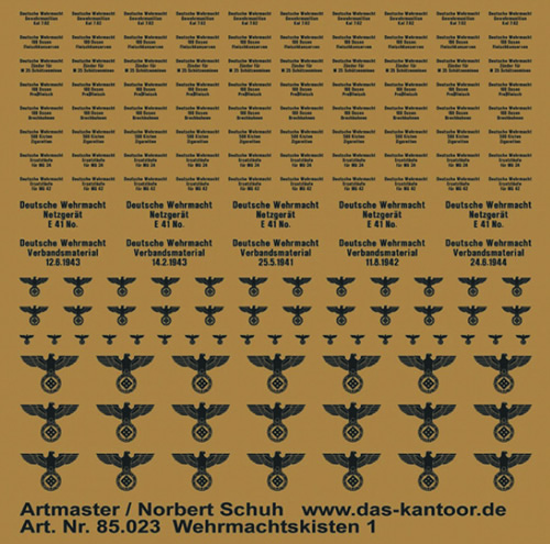 Artmaster 85023 - WWII German Army crates (dry transfer)