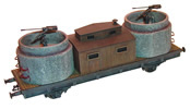 Anti-aircraft rr-car w/ two concrete-pipe bunkers (w/ anti-aircraft gun)