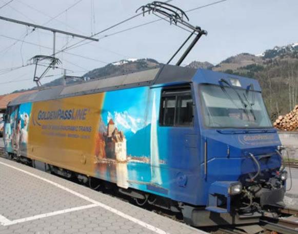 Bemo 1259334 - Swiss Electric Universal Locomotive Ge 4/4 8004 GoldenPassLine of the MOB