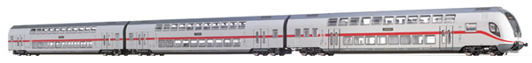 Brawa 44504 - German 3pc TWINDEXX Vario IC-Double-Deck Coaches of the DB AG (DC Analog Basic Plus)