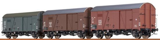 Brawa 45901 - 3pc Covered Freight Car Set Gms 30