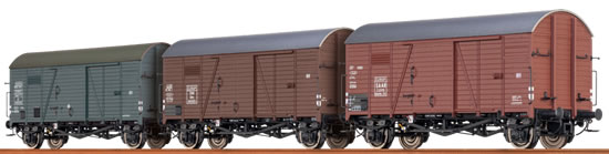 Brawa 45901 - 3pc Covered Freight Car Set Gms 30