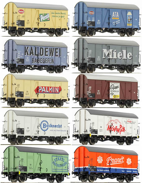 Brawa 45904 - 2016 Toyfair Set Consisting of 10 Era II German DB Box Cars