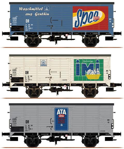 Brawa 45906 - 3pc Freight Car Set G10 Henkel Set