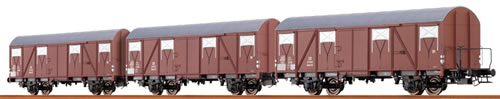 Brawa 47254 - German 3pc Freight Car Set Glmhs50 of the DB