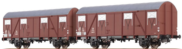 Brawa 47264 - 2pc Covered Freight Car Set Glmhs50