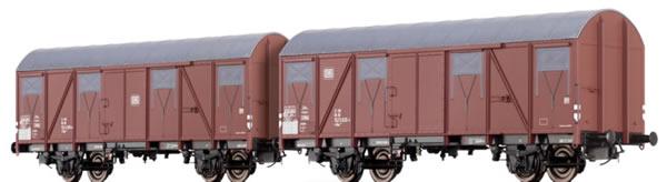 Brawa 47265 - German 2 Piece Covered Goods Wagon Set Gbs 245 of the DB