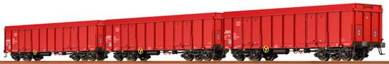 Brawa 48504 - 3pc Open Freight Car Set Eaos of DB AG