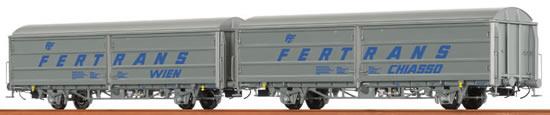 "Brawa 48971 - 2pc Sliding Wall Car Set Hbis ""FERTRANS"" ÖBB"