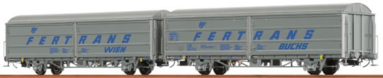 "Brawa 48980 - 2pc Sliding Wall Car Set Hbis ""FERTRANS"" ÖBB"