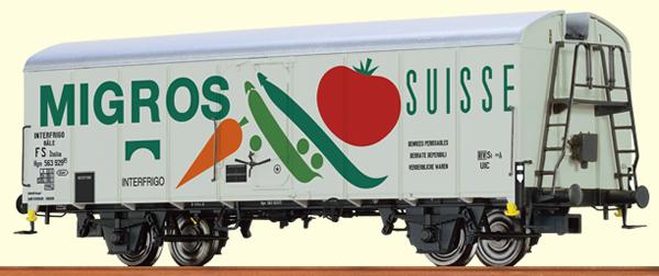 "Brawa 67114 - Refrigerator Car UIC Standard 1 Migros"" FS"