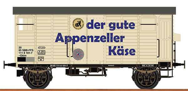 Brawa 67863 - Swiss Covered Freight Car K2 APPENZELLER CHEESE of the SBB