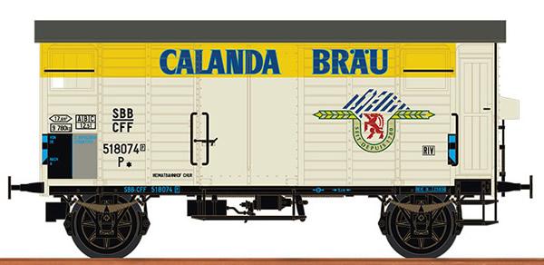 Brawa 67864 - Swiss Covered Freight Car K2 CALANDA BRÄU of the SBB