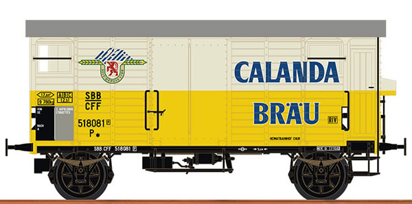 Brawa 67868 - Swiss Covered Freight Car K2 CALANDA BRÄU of the SBB