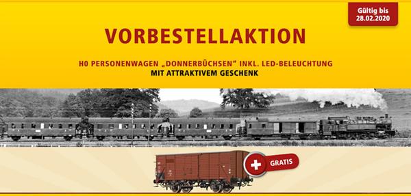 Brawa B2024 - 4pc Passenger Coach Donnerbüchsen Train Set + 1pc Freight Car