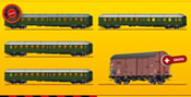 Promotional Offer - DB 4 Piece Passenger Coach Bottle Green Set including FREE Freight Car