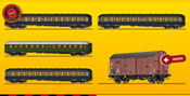 Promotional Offer - DB 4 Piece Passenger Coach Ocean Blue-Beige Set including FREE Freight Car