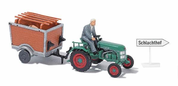 Busch 40051 - Tractor Kramer KL11 with trailer + Bauer