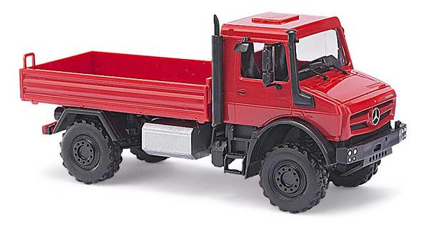 Busch 51007 - MB Unimog U 5023 / flatbed CMD, red