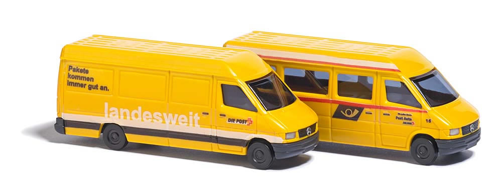 Busch 8339 - 2 Mercedes Sprinter trucks »Swiss Postal Dept «