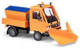 Multicar with pointed plow and spreading attachment