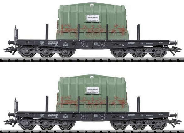 Consignment 24005 - Trix 24005 2pc Type Ssym 46 Warm Slab Cars Loaded w/ Thermal Covers
