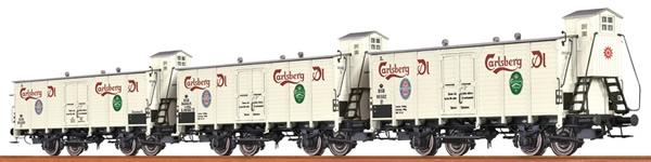 Consignment 48277 - Brawa 48277 3pc Insulated Boxcar Carlsberg