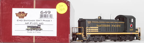 Consignment 649 - Broadway Limited USA Diesel Locomotive EMD Switcher SW7 Phase 1 #107 of the NP