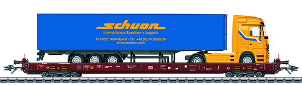 Consignment MA47427 - Marklin 47427 - Depressed Floor End Flat Car Type Saadkms 690 with truck load Rolling Highway
