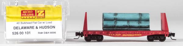 Consignment MT52600101 - Micro Trains 52600101 40 Bulkhead Flat Car w/Load Delaware & Hudson 8006