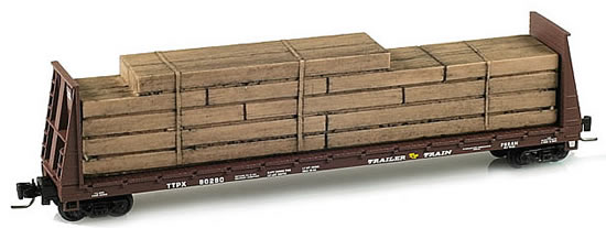 Consignment MT52700021 - Micro Trains 52700021 60 Bulkhead Flat Car w/Lumber Load Trailer Train TTPX 80280